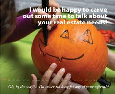 Attach to a pumpkin and/or a carving kit and you're good to go! Not too late to get those Halloween Pop-bys done :) #realestate #fall #Halloween #client #gift #Popby #ideas