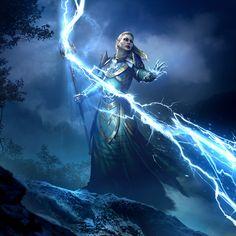 ArtStation - Forked Bolt - The Elder Scrolls: Legends, Artur Gurin The Elder Scrolls, Elder Scrolls Online, High Fantasy, Fantasy Rpg, Medieval Fantasy, Fantasy Wizard, Dark Wizard, Fantasy Women, Fantasy Concept Art
