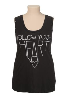 aadeb56775d4b6 Follow your heart studded plus size tank Plus Fashion