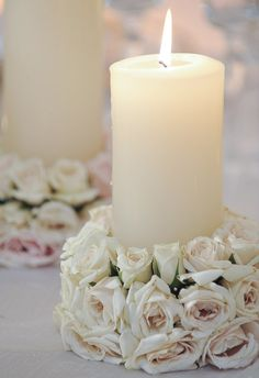 Mother's Day Roses and Candle Arrangement Centerpiece