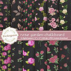 """rose digital paper """" Rose Garden - Chalkboard """" flower roses digital scrapbook…"""