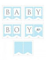 Instant Download Blue Elephant Baby Shower Banner, Blue Baby Boy Bunting Banner, Printable Bunting Flags, Boy Blue Elephant Banner #22C