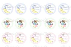 AW! pastel Sleepy Baby Teddy In A Box Bottle Cap Images 1 Inch Digital Collage - Instant Download $2.00  #BottleCapsByEli