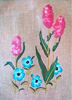 Vintage  Cotton Candy Floral  Crewel by DocksideDesignsEtc on Etsy, $6.50