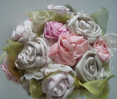 Princess Bouquet Pink Cream and Oyster satin by BodaDesignMarbella, $44.00