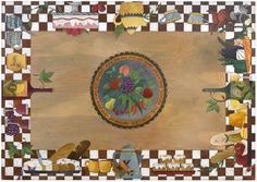 Rectangular Dining Table – Eclectic folk art table with playful banquet design Cook Up A Storm, Vivid Imagery, Folk Fashion, Food Themes, Deco, Painted Furniture, Folk Art, Original Art, Art Pieces