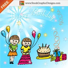Freebie: Cute Cartoon Kids Celebrate a Birthday Party Vector Background