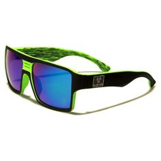 Biohazard Men Plastic Square Flat-Top Sunglasses Black and Green with Blue Mirror Lens