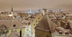 Snowy Tallinn Old Town from Kohtuotsa viewing platform