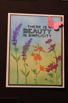 flower stamped card by Ranger Tim Holtz
