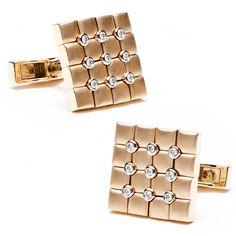 18K Rose Gold & Diamonds Quilted Cufflinks