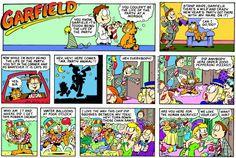 Garfield is the real life of the party. Garfield Cartoon, Garfield Comics, Funny Cats, Funny Animals, Funny Jokes, Hagar The Horrible, Sunday Newspaper, Comic Art, Comic Books