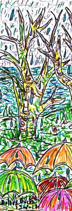 Dimecres plou arbres estany paraigües  15-2-17  bolígraf retoladors punt s Dolors Buch Castañer