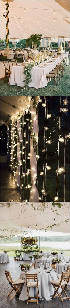 Rustic chic beach wedding decoration ideas - I love the use of lights to make the reception venue look so magical!