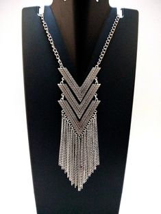 Ladies Large Tribal Triangle Necklace Black Leather Antique Silvertone Ethnic