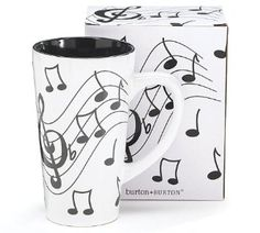 [ Amazon.com ] ::  Jazz It up Tall Ceramic Mug Musical Notes Holds 16 Oz