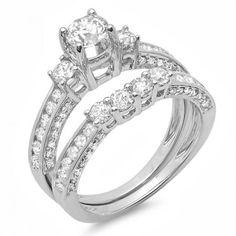 Thanks for Sharing!  1.80 Carat (ctw) 14k White Gold Round Diamond Ladies Bridal 3 Stone Engagement Ring With Matching Wedding Band Set - Dazzling Rock #https://www.pinterest.com/dazzlingrock/