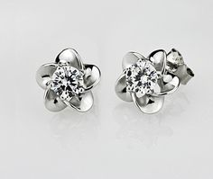 $6.72, sterling silver jewelry Stud Earring Plum blossom shaped earrings women's jewelery Classic fashion noble ornament
