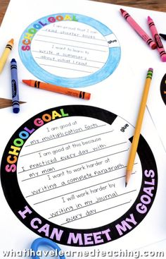 A goal setting craftivity that allows students to artfully express the goals that they set for themselves throughout the year. It comes with a variety of options and can be used at any time of the year. School Goals, Student Goals, Student Data, School Ideas, Beginning Of The School Year, First Day Of School, Middle School, Elementary School Counseling, Elementary Schools