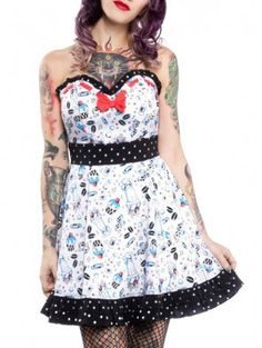 "Women's ""Lazy Sundae"" Skater Dress by Sourpuss Clothing (White)"