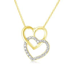 $14.99 - Diamond Accent Linking Heart Pendant in 18K Gold Over Sterling Silver
