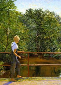 Boy Fishing, by Lilla Cabot Perry, 1929 - oil on canvas. Location: White House Art Collection, Washington, D.C.