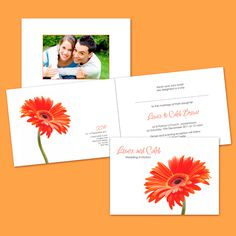 Folded Wedding Invitation - Burnt Orange Gerbera - Wedding Invitations by Wickedly Innocent