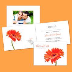 Folded Wedding Invitation - Burnt Orange Gerbera - Wedding Invitations by Wickedly Innocent