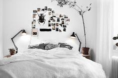 Photo collage headboard Black and white bedroom @erinvingerhoets