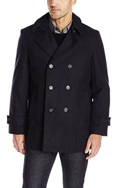 Tommy Hilfiger Men's Brady 33 Inch Double Breasted Pea Coat, Charcoal, 42 Regular ❤ Tommy Hilfiger Mens Outerwear Child Code