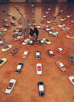 Ford executives picking the 1953 car colors from hundreds of scale models.