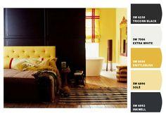 Pared negra para entrada, con posibles tonos a resaltar, y colgar fotos de ellos de viaje, familiares, o en blanco y negro, talvez enmarcados en amarillo (color sol, bien meditarraneo!!!:-)