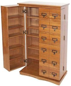 Free Shipping on the Hinged Library Bluray/DVD/CD Media Storage Cabinet in Walnut Finish at DVD CD Storage.com!