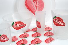 พิมพ์สกรีน | ชุดเครื่องครัว | สตอเบอรี่ | Screen Printing Kitchen set Strawberry