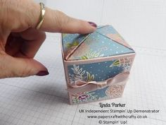 Cubed Box with Pop-Up/Pop-Shut Closure in Sweet Soiree DSP from Stampin'...