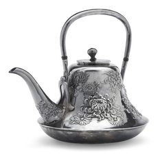 A silver teapot By the Samurai Shokai workshop, Meiji period (early century) Silver Teapot, Bronze, Teapots And Cups, Tea Art, Tea Service, Tea Ceremony, Metal Working, Antique Silver, Tea Cups