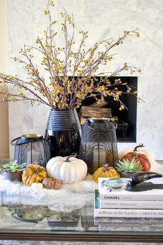 Warm and Cozy Coffee Table Styling for Fall with black accents Fall Table Settings, Thanksgiving Table Settings, Thanksgiving Decorations, Christmas Tree Decorations, Seasonal Decor, Table Decorations, Christmas Trees, Holiday Decor, Slim Tree