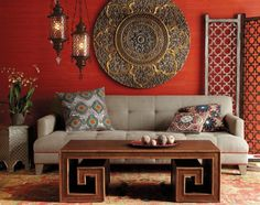 Moroccan wall color wall decoration living room red