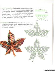 Plans leaves of beads - Flowers - Arrangements weaving beads - Treasury papers - Weave beaded jewelry, trees and flowers, circuits u