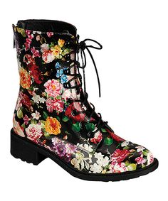 I can't decide if these are hideous or adorable... Dollhouse Black Flower Garden Boot | zulily