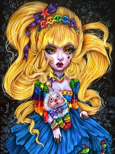 Rainbow Brite, Rainbow Eyes, Gothic Dolls, Arte Horror, Lowbrow Art, 5d Diamond Painting, Creepy Cute, Cat Art, Fantasy Art