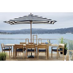 Rectangular Sunbrella Cabana Stripe Navy Patio Umbrella With Black Frame