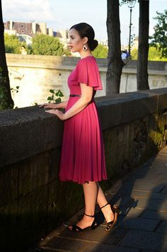 Sunset in Paris - Magenta Dress and Dinner by The Seine