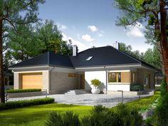 DOM.PL™ - Projekt domu AC Marcel IV G2 CE - DOM AF8-29 - gotowy koszt budowy Bungalow House Plans, Marcel, My House, Gazebo, Garage Doors, House Design, Architecture, Outdoor Decor, Home Decor
