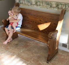 running with scissors church pew to mud room bench - Church Pews For Sale