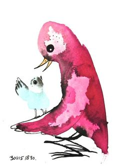 Unique baby gift baby bird art mother and child pink by BIRDADAY