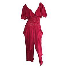 Rote Vintage Casadei Kleid / flattern Schmetterling Ärmel w / Strass / schicke Designer Vintage Boho Kleid / Sexy Peek-a-Boo zurück Dame in