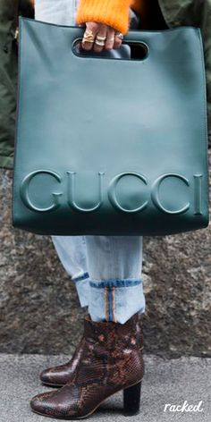 A Green Gucci Tote Bag at Milan Fashion Week, Worn With Snakeskin Boots // See All of the Best Bags and Accessories from MFW Fall 2016: (http://www.racked.com/2016/3/1/11138030/mfw-fall-2016-accessories)