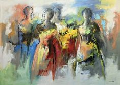 Amazing by Maria de Vries - AbrahamArt Long Painting, Painting People, Oil Painting Abstract, Texture Painting, Woman Painting, Figure Painting, African Artwork, Contemporary Abstract Art, Happy Art
