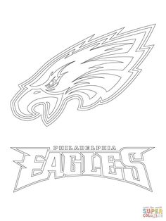 philadelphia eagles logo football sport coloring pages printable and coloring book to print for free. Find more coloring pages online for kids and adults of philadelphia eagles logo football sport coloring pages to print. Football Coloring Pages, Sports Coloring Pages, Cool Coloring Pages, Free Printable Coloring Pages, Coloring Sheets, Printable Art, Denver Broncos, Super Bowl, T Shirts